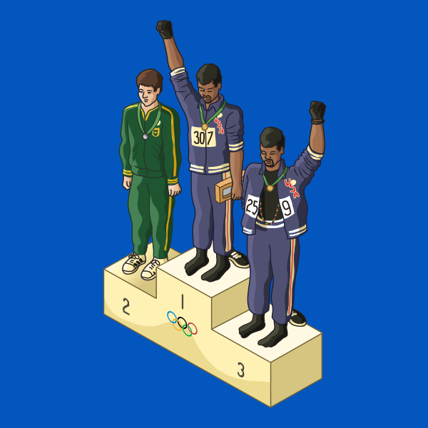 """1968 Olympics: Two African-American athletes raised a black-gloved fist during the playing of the US national anthem, """"The Star-Spangled Banner"""""""